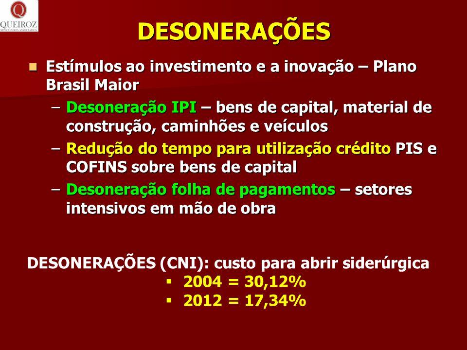 DESONERAÇÕES Estímulos ao investimento e a inovação – Plano Brasil Maior Estímulos ao investimento e a inovação – Plano Brasil Maior –Desoneração IPI