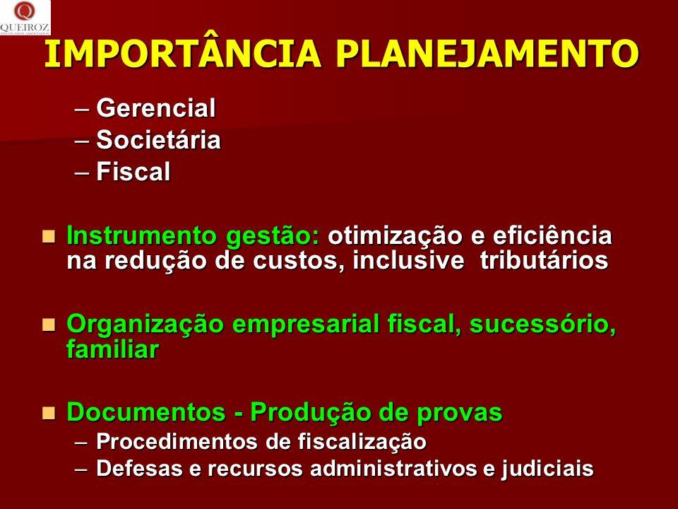 IMPORTÂNCIA PLANEJAMENTO –Gerencial –Societária –Fiscal Instrumento gestão: otimização e eficiência na redução de custos, inclusive tributários Instru