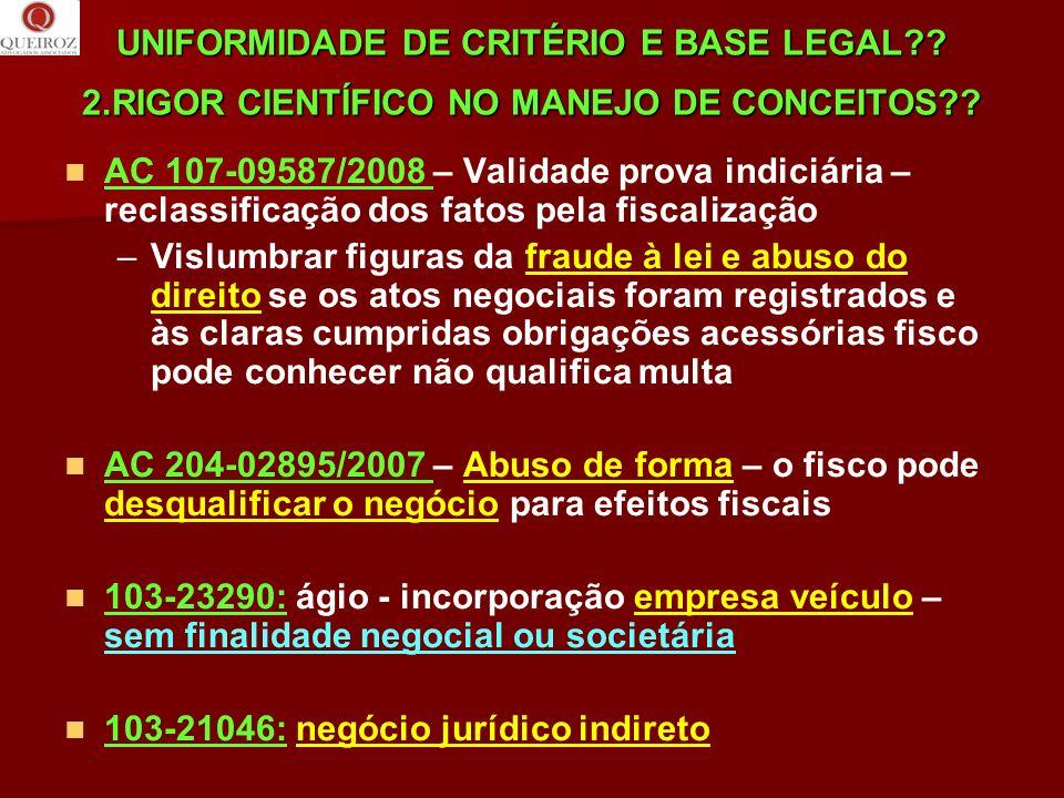 UNIFORMIDADE DE CRITÉRIO E BASE LEGAL?? 2.RIGOR CIENTÍFICO NO MANEJO DE CONCEITOS?? AC 107-09587/2008 – Validade prova indiciária – reclassificação do