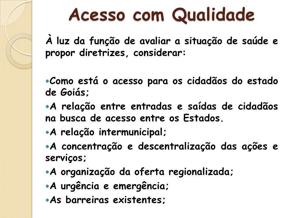 À luz da função de avaliar a situação de saúde e propor diretrizes, considerar: Como está o acesso para os cidadãos do estado de Goiás; A relação entr