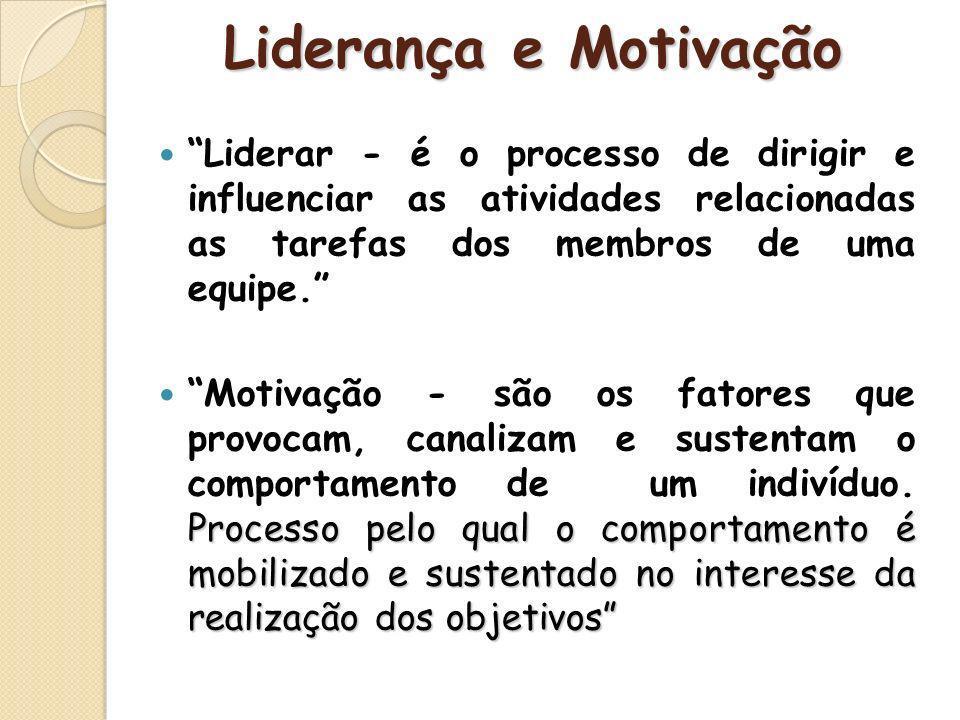 Liderar - é o processo de dirigir e influenciar as atividades relacionadas as tarefas dos membros de uma equipe. Processo pelo qual o comportamento é
