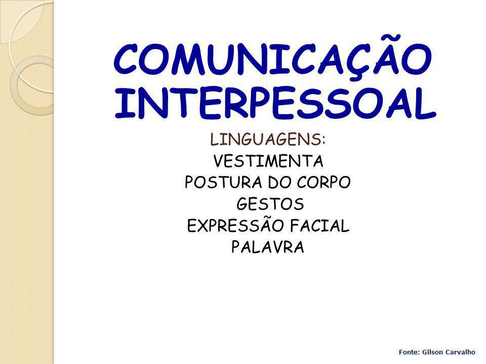COMUNICAÇÃO INTERPESSOAL LINGUAGENS: VESTIMENTA POSTURA DO CORPO GESTOS EXPRESSÃO FACIAL PALAVRA Fonte: Gilson Carvalho