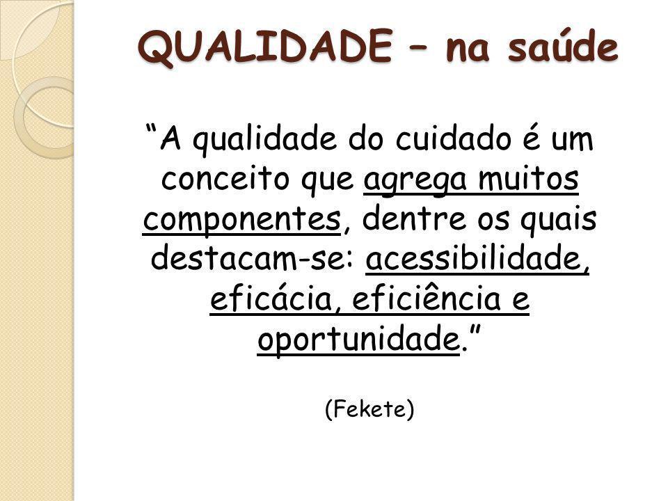 Fonte: Gilson Carvalho QUALIDADE É A RELAÇÃO PREFERIDA E APROVADA ENTRE MEIOS E FINS (DONABEDIAN) QUALIDADE – na saúde