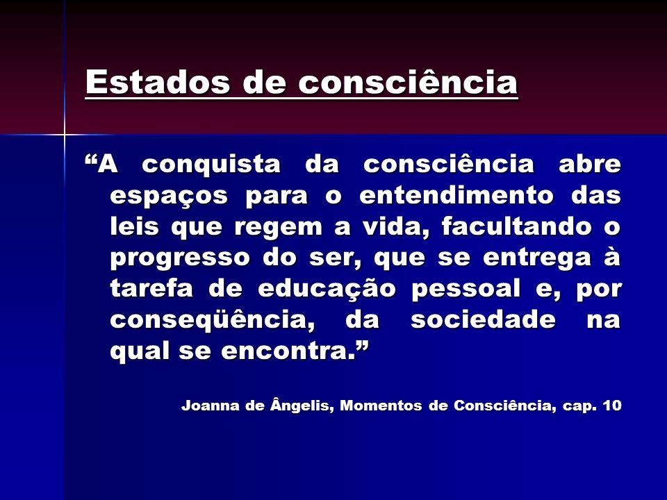 Estados de consciência A conquista da consciência abre espaços para o entendimento das leis que regem a vida, facultando o progresso do ser, que se en