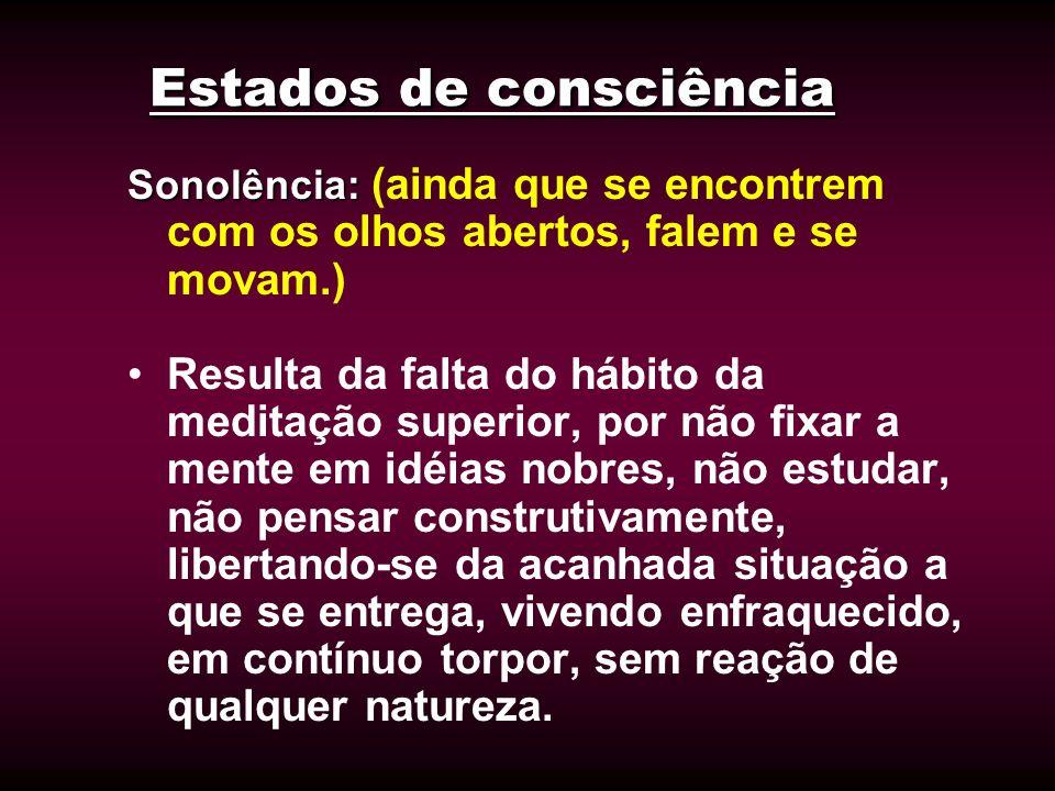 Estados de consciência Sonolência: Sonolência: (ainda que se encontrem com os olhos abertos, falem e se movam.) Resulta da falta do hábito da meditaçã