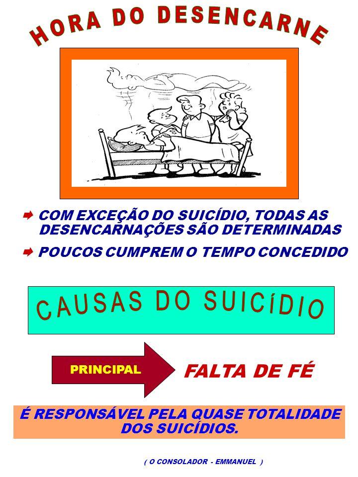 COM EXCEÇÃO DO SUICÍDIO, TODAS AS DESENCARNAÇÕES SÃO DETERMINADAS POUCOS CUMPREM O TEMPO CONCEDIDO PRINCIPAL FALTA DE FÉ É RESPONSÁVEL PELA QUASE TOTA