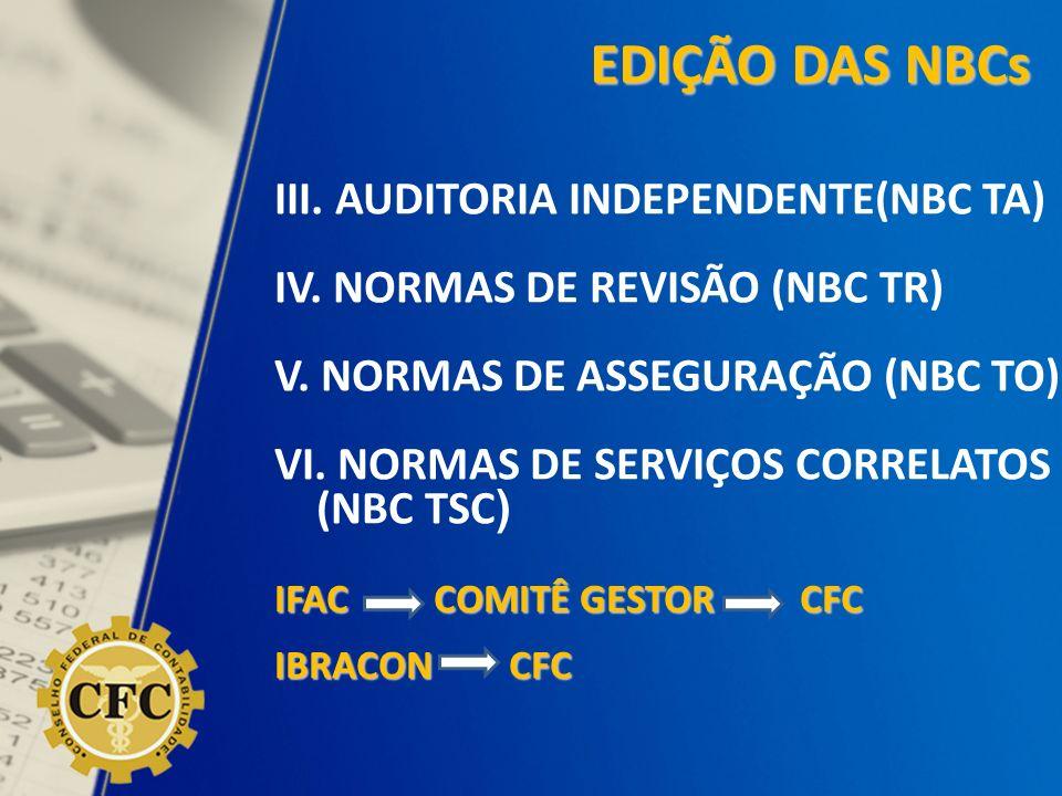 III. AUDITORIA INDEPENDENTE(NBC TA) IV. NORMAS DE REVISÃO (NBC TR) V. NORMAS DE ASSEGURAÇÃO (NBC TO) VI. NORMAS DE SERVIÇOS CORRELATOS (NBC TSC ) IFAC