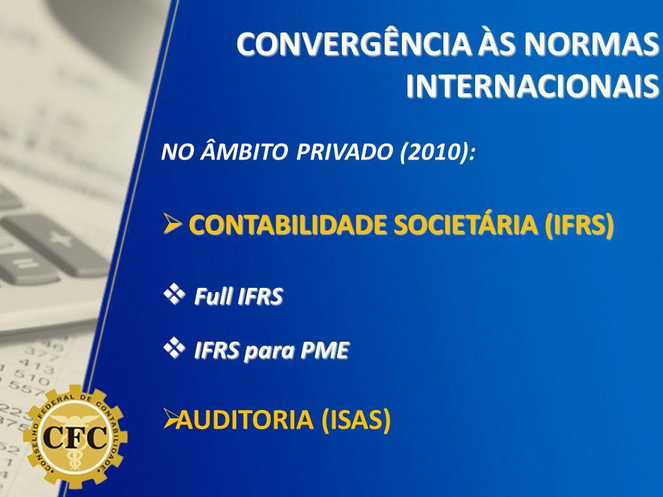 NO ÂMBITO PRIVADO (2010): CONTABILIDADE SOCIETÁRIA (IFRS) CONTABILIDADE SOCIETÁRIA (IFRS) Full IFRS Full IFRS IFRS para PME IFRS para PME AUDITORIA (I