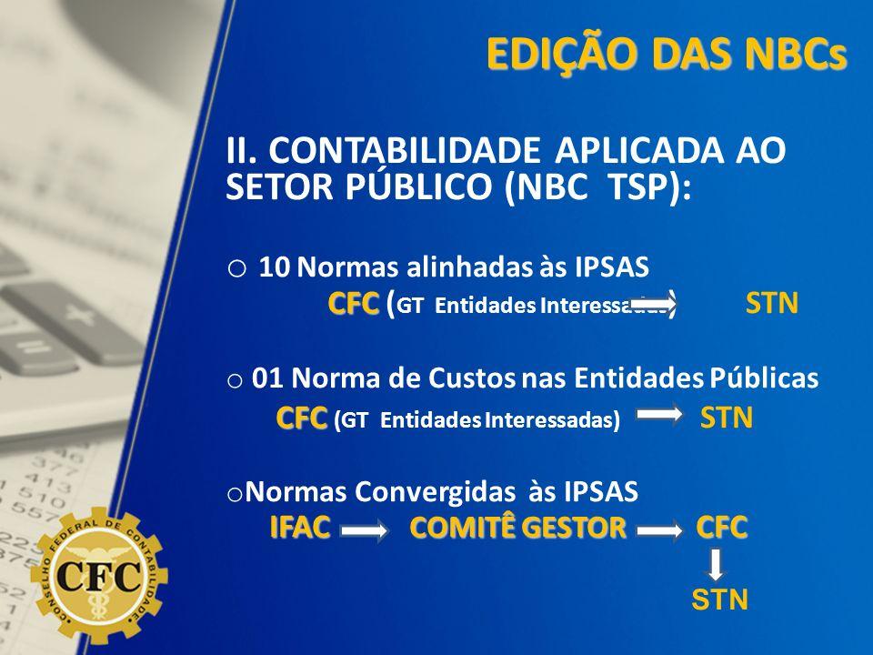 II. CONTABILIDADE APLICADA AO SETOR PÚBLICO (NBC TSP): o 10 Normas alinhadas às IPSAS CFC CFC ( GT Entidades Interessadas ) STN o 01 Norma de Custos n