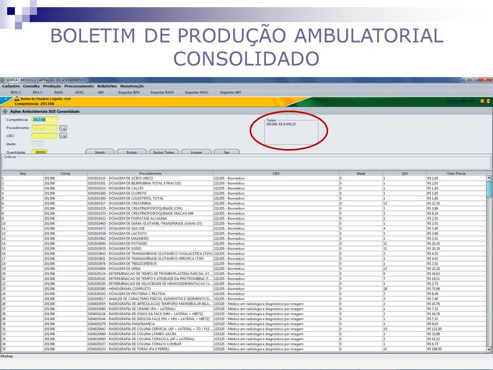 BOLETIM DE PRODUÇÃO AMBULATORIAL CONSOLIDADO