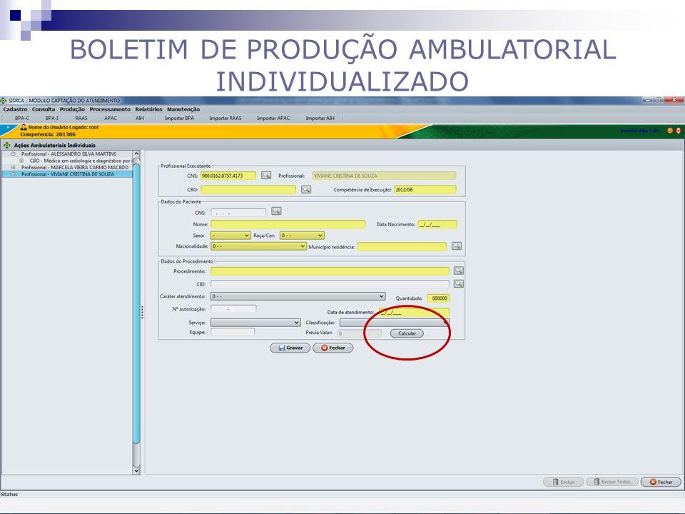 BOLETIM DE PRODUÇÃO AMBULATORIAL INDIVIDUALIZADO