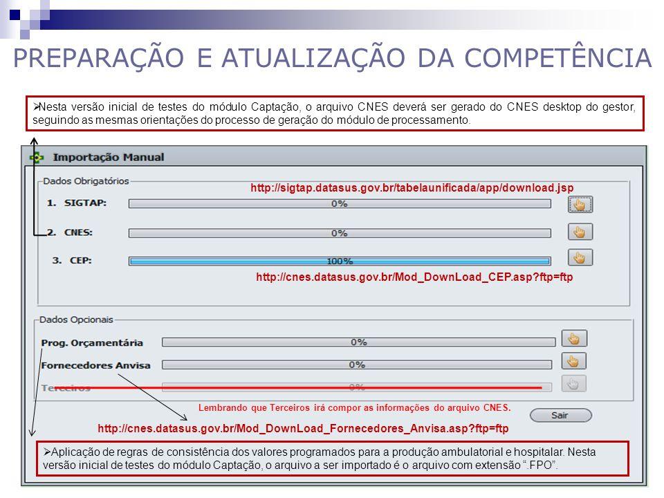 PREPARAÇÃO E ATUALIZAÇÃO DA COMPETÊNCIA Lembrando que Terceiros irá compor as informações do arquivo CNES. http://sigtap.datasus.gov.br/tabelaunificad