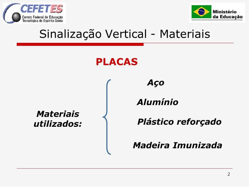2 Sinalização Vertical - Materiais PLACAS Materiais utilizados: Alumínio Aço Plástico reforçado Madeira Imunizada