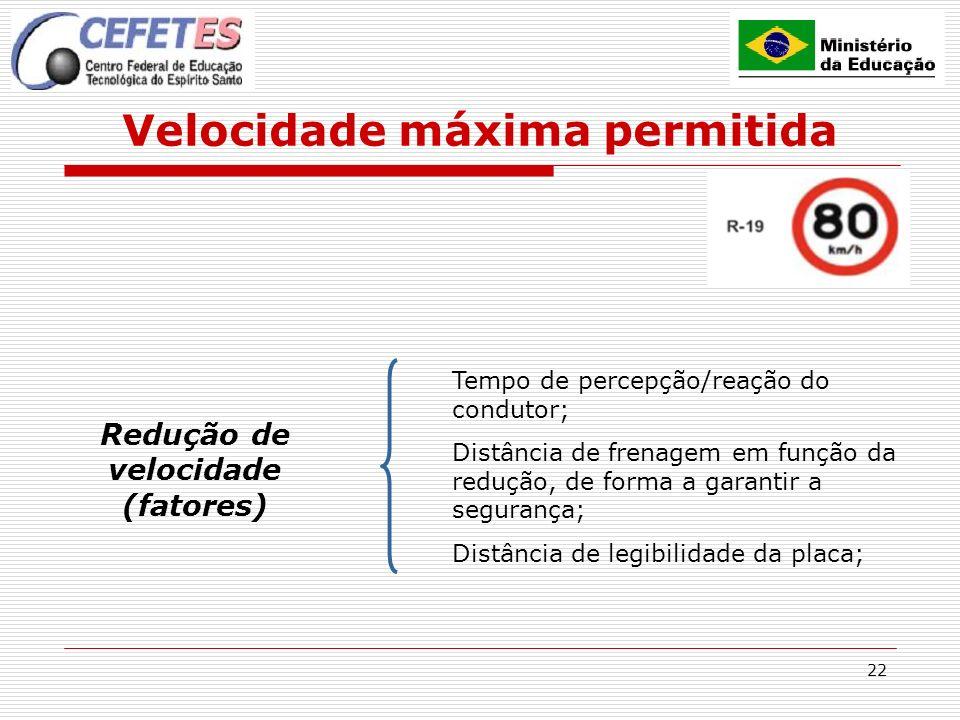 22 Velocidade máxima permitida Redução de velocidade (fatores) Tempo de percepção/reação do condutor; Distância de frenagem em função da redução, de f