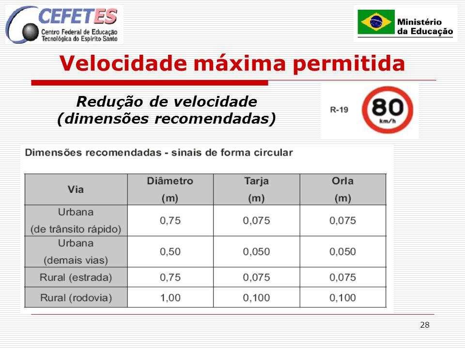 28 Velocidade máxima permitida Redução de velocidade (dimensões recomendadas)