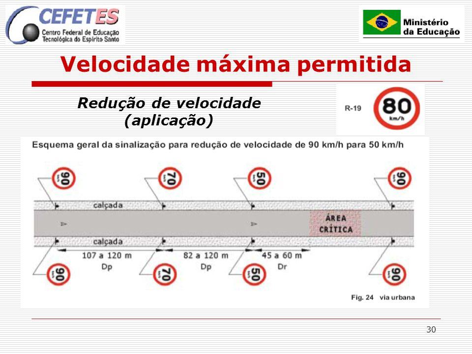 30 Velocidade máxima permitida Redução de velocidade (aplicação)