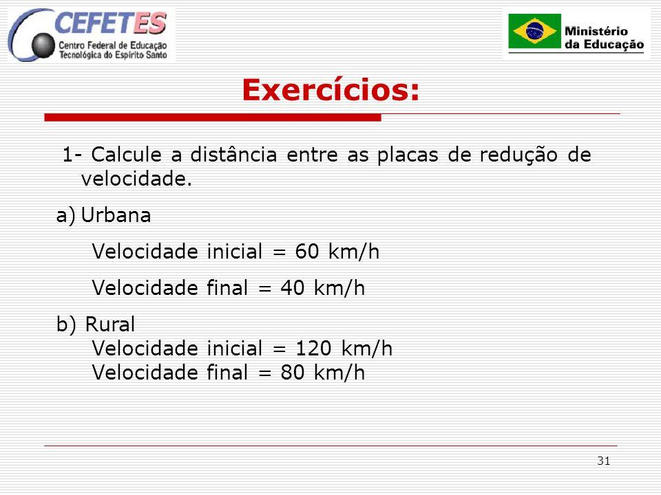 31 Exercícios: 1- Calcule a distância entre as placas de redução de velocidade. a)Urbana Velocidade inicial = 60 km/h Velocidade final = 40 km/h b) Ru