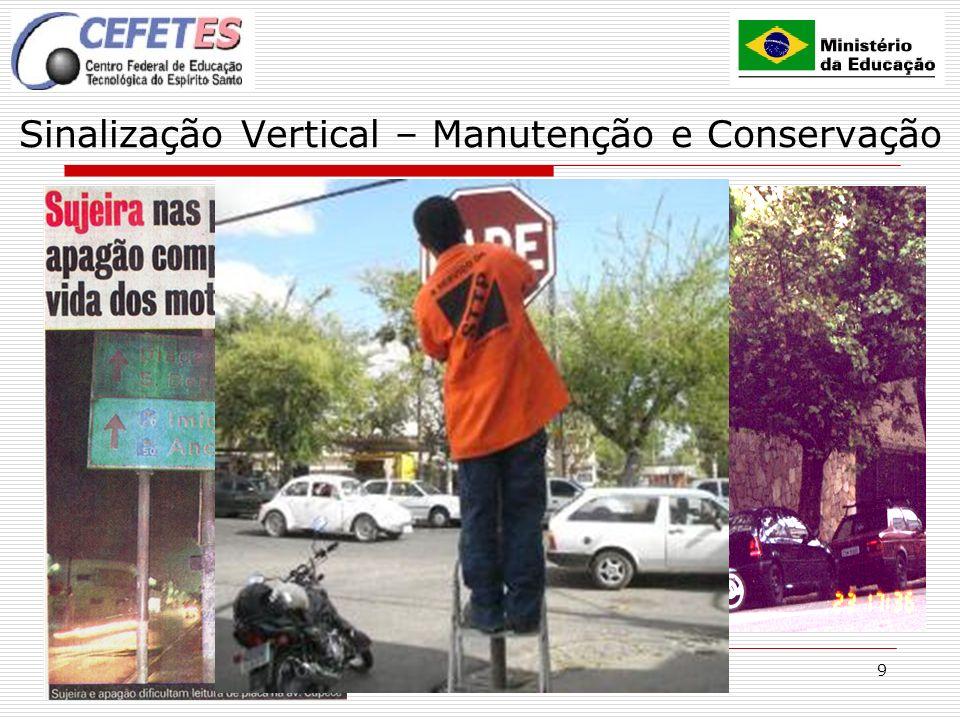 9 Sinalização Vertical – Manutenção e Conservação CUIDADOS Mobiliário urbano Vegetação Placas publicitárias Materiais de construção