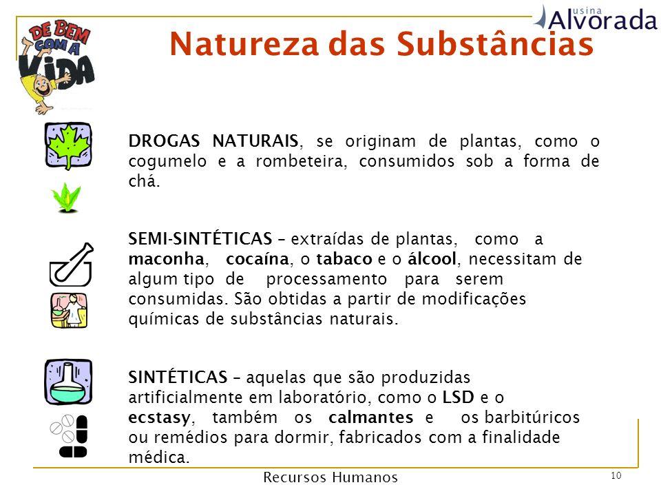Recursos Humanos 10 Natureza das Substâncias DROGAS NATURAIS, se originam de plantas, como o cogumelo e a rombeteira, consumidos sob a forma de chá.