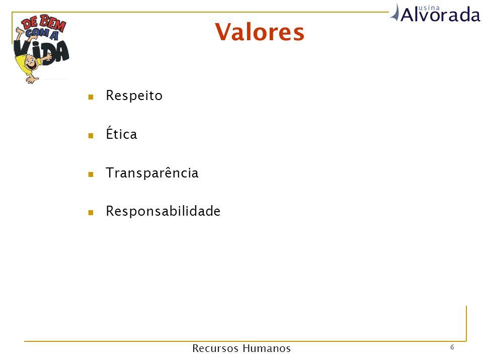 Recursos Humanos 6 Valores Respeito Ética Transparência Responsabilidade