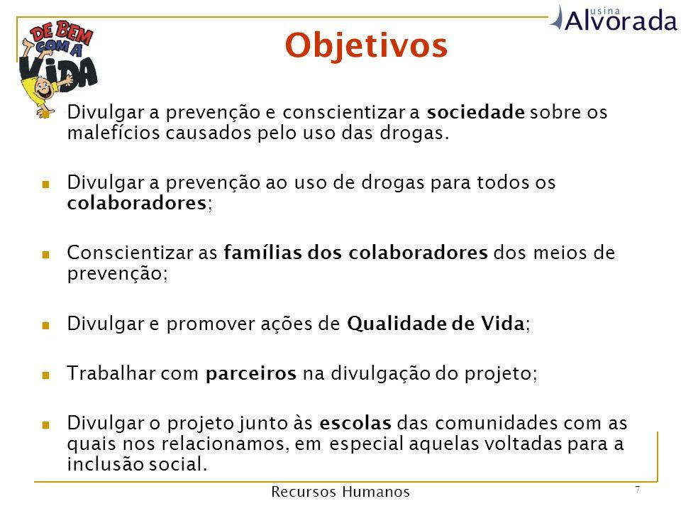 Recursos Humanos 7 Objetivos Divulgar a prevenção e conscientizar a sociedade sobre os malefícios causados pelo uso das drogas.