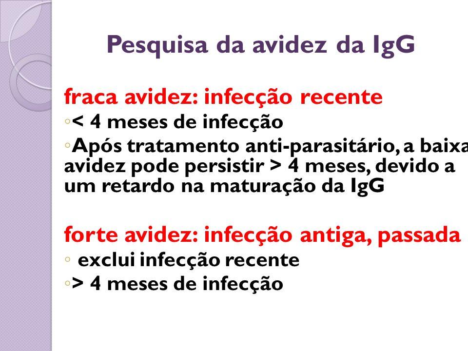 Pesquisa da avidez da IgG fraca avidez: infecção recente < 4 meses de infecção Após tratamento anti-parasitário, a baixa avidez pode persistir > 4 mes