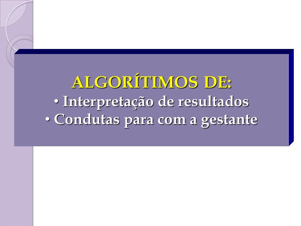 ALGORÍTIMOS DE: Interpretação de resultados Interpretação de resultados Condutas para com a gestante Condutas para com a gestante