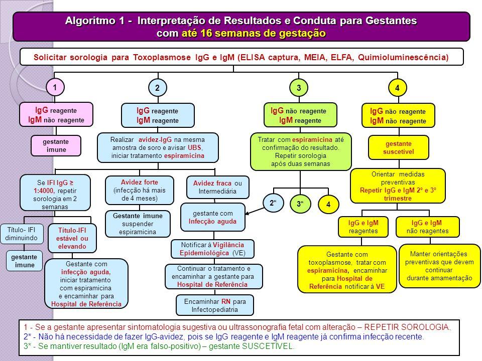 IgG não reagente IgM não reagente Solicitar sorologia para Toxoplasmose IgG e IgM (ELISA captura, MEIA, ELFA, Quimioluminescência) Notificar à Vigilân