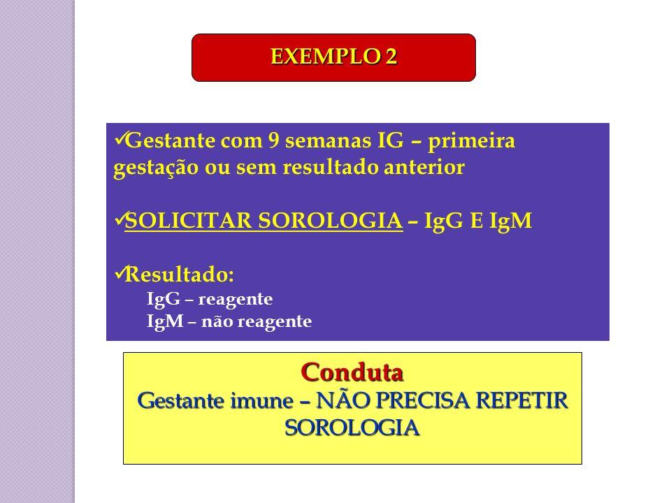Gestante com 9 semanas IG – primeira gestação ou sem resultado anterior SOLICITAR SOROLOGIA – IgG E IgM Resultado: IgG – reagente IgM – não reagente E