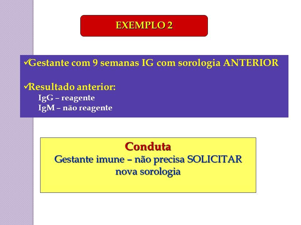 Gestante com 9 semanas IG com sorologia ANTERIOR Resultado anterior: IgG – reagente IgM – não reagente EXEMPLO 2 Conduta Gestante imune – não precisa