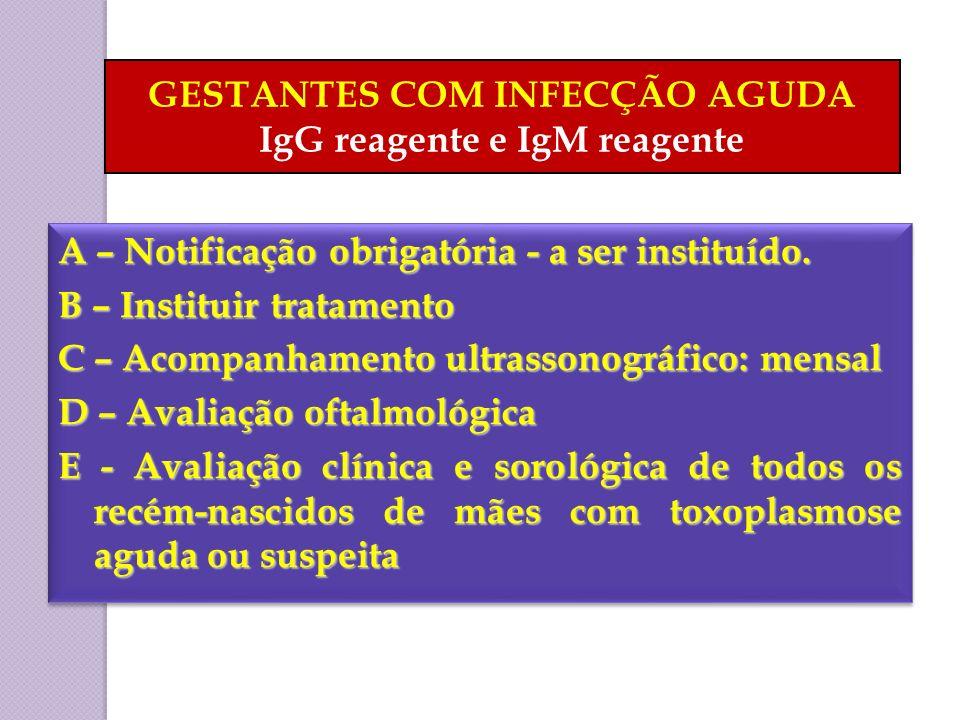 GESTANTES COM INFECÇÃO AGUDA IgG reagente e IgM reagente A – Notificação obrigatória - a ser instituído. B – Instituir tratamento C – Acompanhamento u