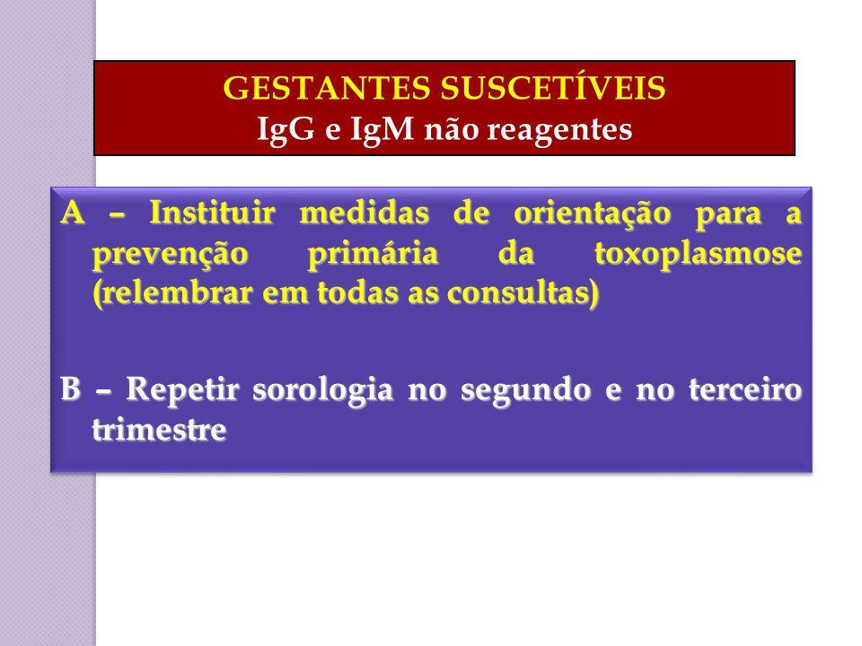A – Instituir medidas de orientação para a prevenção primária da toxoplasmose (relembrar em todas as consultas) B – Repetir sorologia no segundo e no