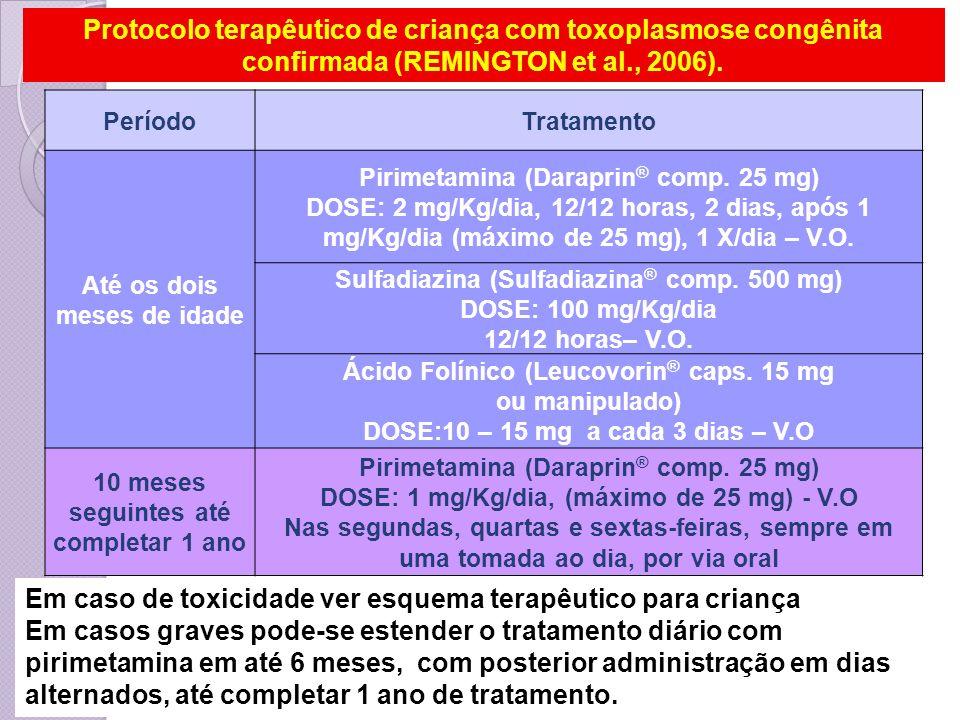 PeríodoTratamento Até os dois meses de idade Pirimetamina (Daraprin ® comp. 25 mg) DOSE: 2 mg/Kg/dia, 12/12 horas, 2 dias, após 1 mg/Kg/dia (máximo de