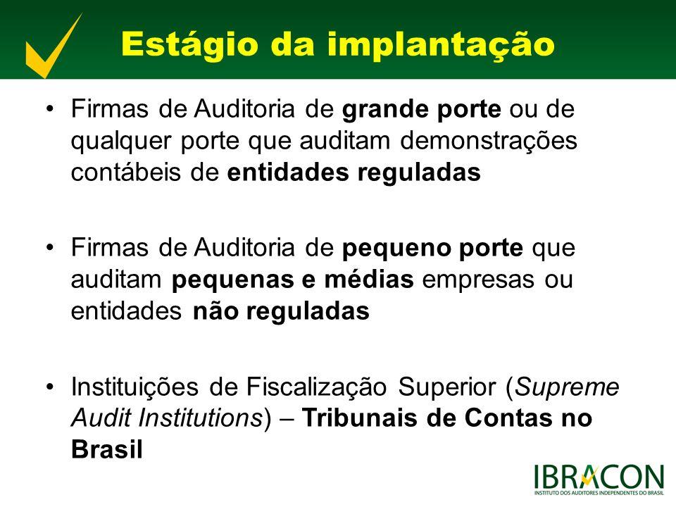Pequenas Firmas de Auditoria Preocupação tanto no Brasil como em nível internacional em criar condições de plena utilização pelas pequenas firmas de auditoria Federação Internacional de Contadores (Ifac) Conselho Federal de Contabilidade Ibracon