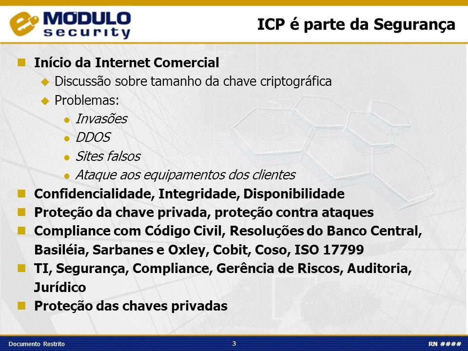 3 Documento RestritoRN #### ICP é parte da Segurança Início da Internet Comercial Discussão sobre tamanho da chave criptográfica Problemas: Invasões D