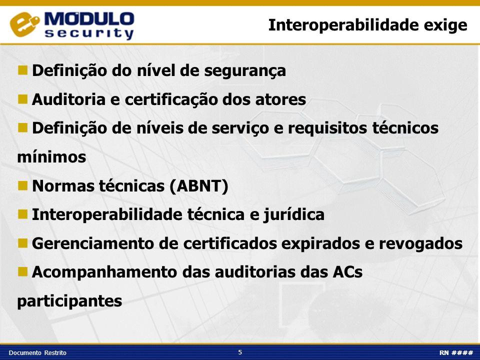 5 Documento RestritoRN #### Interoperabilidade exige Definição do nível de segurança Auditoria e certificação dos atores Definição de níveis de serviç