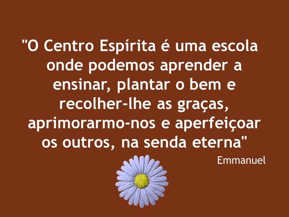 O Centro Espírita é uma escola onde podemos aprender a ensinar, plantar o bem e recolher-lhe as graças, aprimorarmo-nos e aperfeiçoar os outros, na senda eterna Emmanuel
