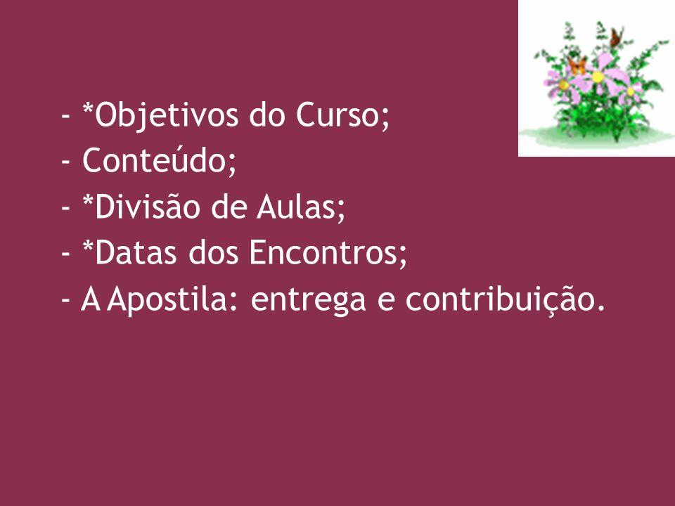 - *Objetivos do Curso; - Conteúdo; - *Divisão de Aulas; - *Datas dos Encontros; - A Apostila: entrega e contribuição.