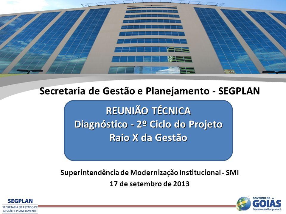 Secretaria de Gestão e Planejamento - SEGPLAN Superintendência de Modernização Institucional - SMI 17 de setembro de 2013 REUNIÃO TÉCNICA Diagnóstico - 2º Ciclo do Projeto Raio X da Gestão