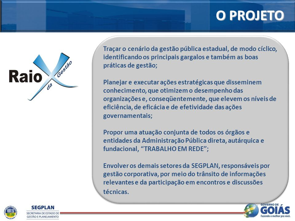 O PROJETO Traçar o cenário da gestão pública estadual, de modo cíclico, identificando os principais gargalos e também as boas práticas de gestão; Plan
