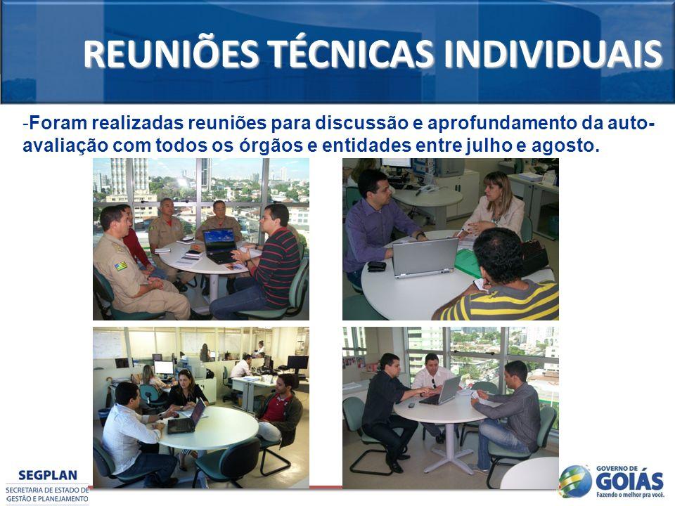 REUNIÕES TÉCNICAS INDIVIDUAIS -Foram realizadas reuniões para discussão e aprofundamento da auto- avaliação com todos os órgãos e entidades entre julh