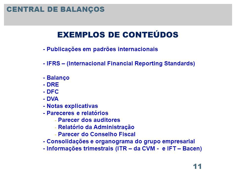 11 - Publicações em padrões internacionais - IFRS – (Internacional Financial Reporting Standards) - Balanço - DRE - DFC - DVA - Notas explicativas - P