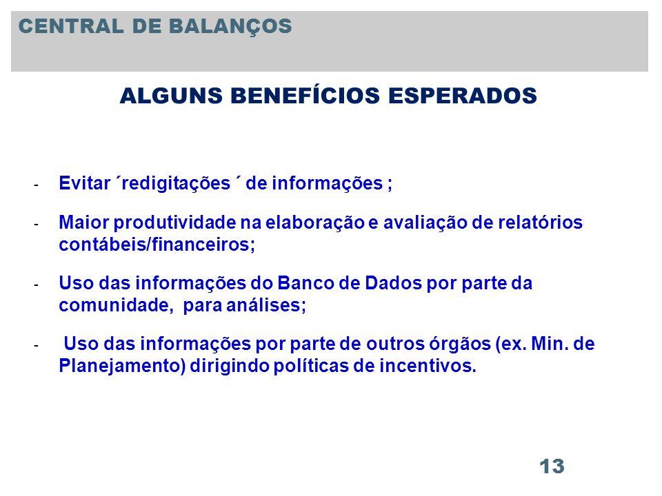 13 ALGUNS BENEFÍCIOS ESPERADOS - Evitar ´redigitações ´ de informações ; - Maior produtividade na elaboração e avaliação de relatórios contábeis/finan