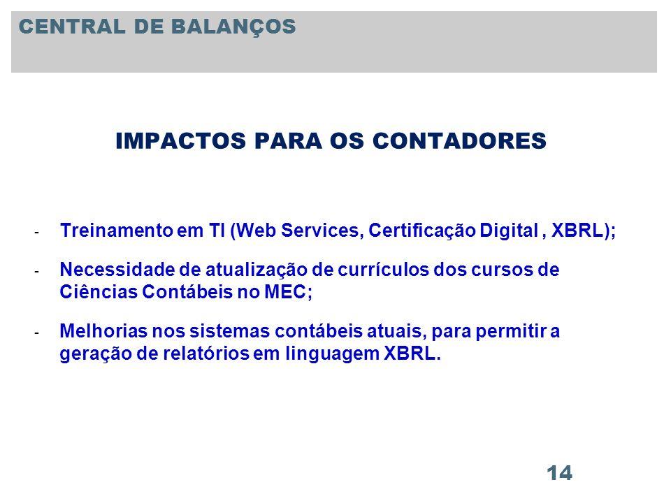 14 IMPACTOS PARA OS CONTADORES - Treinamento em TI (Web Services, Certificação Digital, XBRL); - Necessidade de atualização de currículos dos cursos d