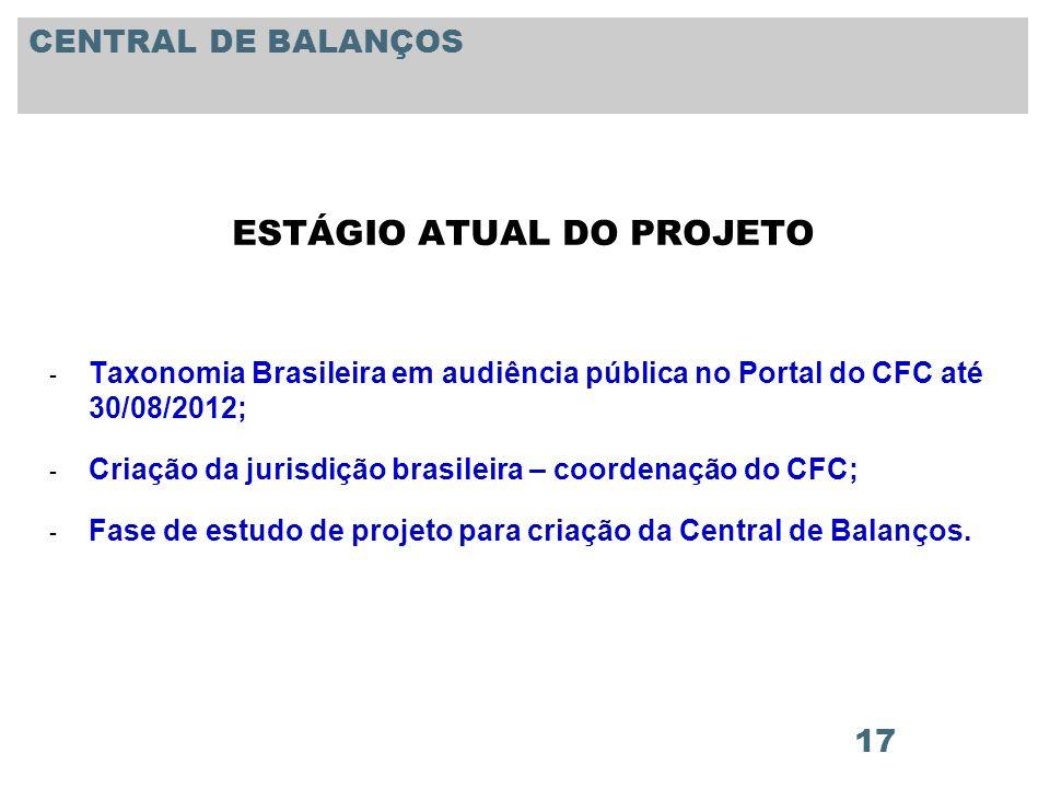 17 ESTÁGIO ATUAL DO PROJETO - Taxonomia Brasileira em audiência pública no Portal do CFC até 30/08/2012; - Criação da jurisdição brasileira – coordena