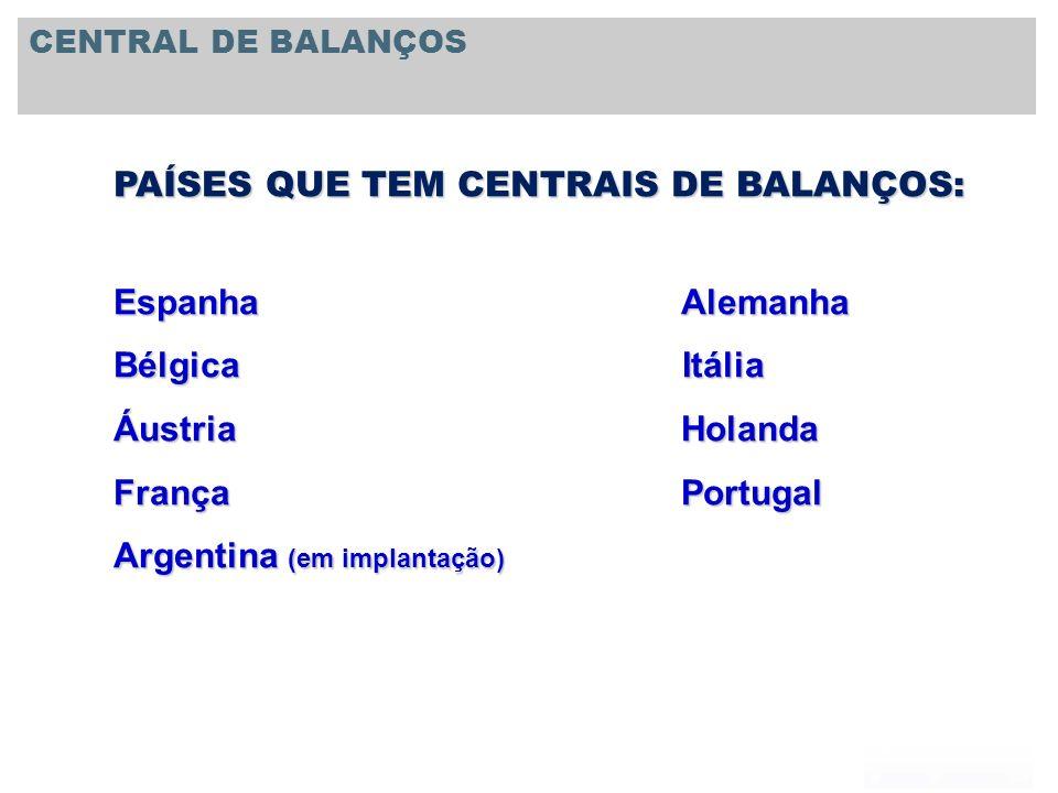 PAÍSES QUE TEM CENTRAIS DE BALANÇOS: Espanha Alemanha Bélgica Itália Áustria Holanda França Portugal Argentina (em implantação) CENTRAL DE BALANÇOS