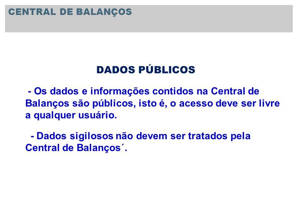 DADOS PÚBLICOS - Os dados e informações contidos na Central de Balanços são públicos, isto é, o acesso deve ser livre a qualquer usuário. - Dados sigi