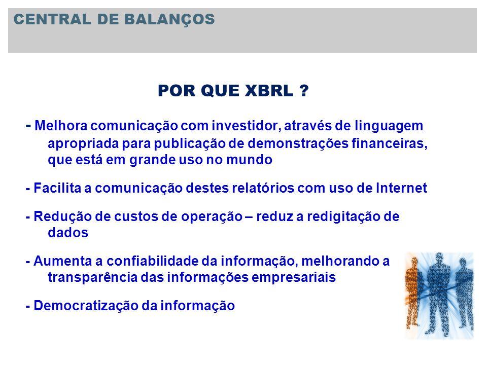 POR QUE XBRL ? - Melhora comunicação com investidor, através de linguagem apropriada para publicação de demonstrações financeiras, que está em grande