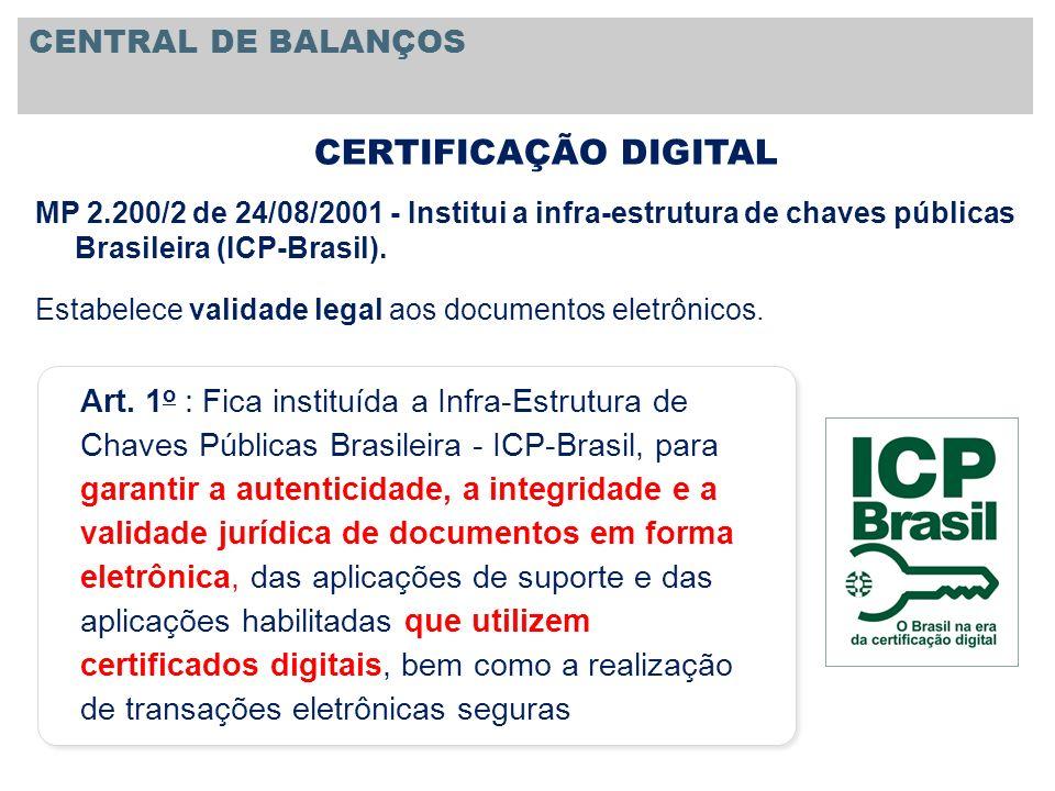 MP 2.200/2 de 24/08/2001 - Institui a infra-estrutura de chaves públicas Brasileira (ICP-Brasil). Estabelece validade legal aos documentos eletrônicos
