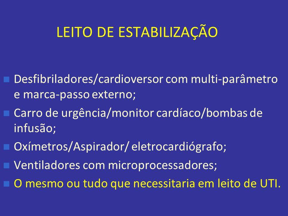 LEITO DE ESTABILIZAÇÃO Desfibriladores/cardioversor com multi-parâmetro e marca-passo externo; Carro de urgência/monitor cardíaco/bombas de infusão; O